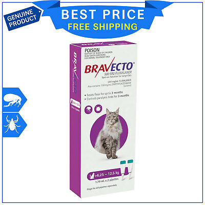 BRAVECTO Spot ON For Cats 6.25 to 12.5 Kg Purple 2 Pipettes Flea Tick Prevention