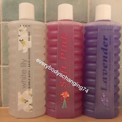 Avon~Mixed Scent 500ml Size Bubble Bath~x3 Lots Lavender Soft Pink White Lily
