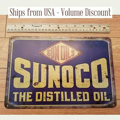 Vintage Sunoco Oil Sign Metal Sunoco Sign Sunoco Gas Station Sunoco Tin Sign Art
