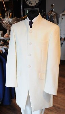 Mj-129C. Mens Ivory Nehru Two Piece Suit Wedding/evening/event/jacket/formal