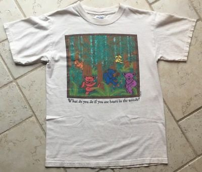 Grateful Dead Vintage 90s T-Shirt BEAR IN THE WOODS 'PLAY DEAD' TOP !!