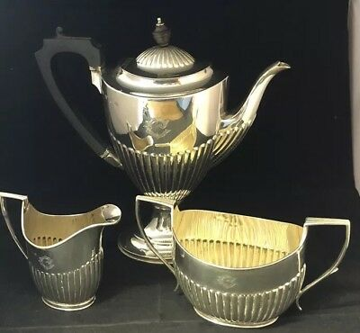 Antique Victorian Sterling Silver Elkington Tea / Coffee Set,-1898 #GA