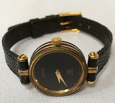 193d0121be0 Gucci Ladies Quartz Watch Genuine Black Leather Band Running Swiss Made