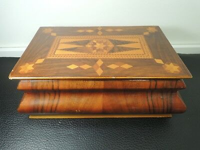 Antique Massive Marquetry Folk Art Inlaid Wood Sewing Or Trinket Box C.1900