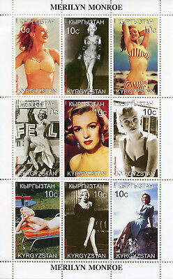 Kyrgyzstan 1999 MNH Marilyn Monroe 9v M/S Celebrities Pin-ups People Stamps
