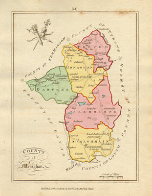 County of Monaghan, Ulster. Antique copperplate map by Scalé / Sayer 1788