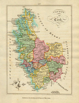 County of Cork, Munster. Antique copperplate map by Scalé / Sayer 1788 old
