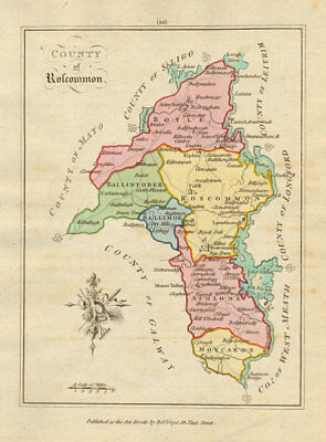 County of Roscommon, Connaught. Antique copperplate map. Scalé / Sayer 1788