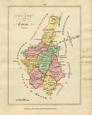 County of Cavan, Ulster. Antique copperplate map by Scalé / Sayer 1788 old