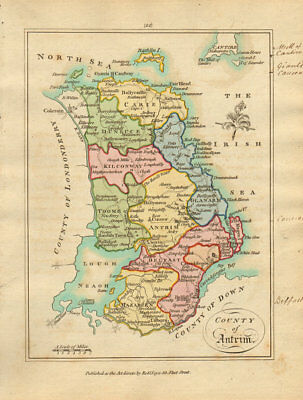 County of Antrim, Ulster. Antique copperplate map by Scalé / Sayer 1788