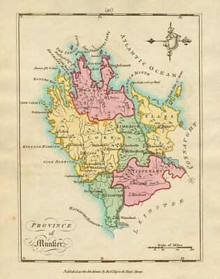 Province of Munster. Antique copperplate map by Scalé / Sayer 1788 old