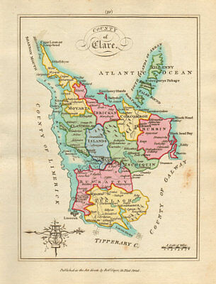 County of Clare, Munster. Antique copperplate map by Scalé / Sayer 1788