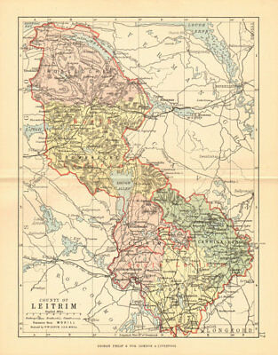 COUNTY LEITRIM. Antique county map. Connaught. Ireland. BARTHOLOMEW 1886