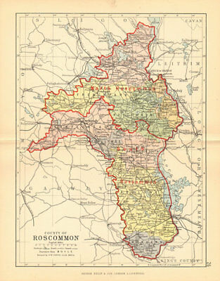 COUNTY ROSCOMMON. Antique county map. Connaught. Ireland. BARTHOLOMEW 1886