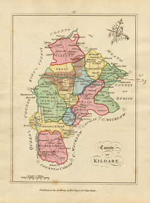 County of Kildare, Leinster. Antique copperplate map by Scalé / Sayer 1788