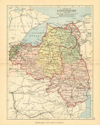 CO. LONDONDERRY. Antique county map. Ulster. Northern Ireland. BARTHOLOMEW 1886