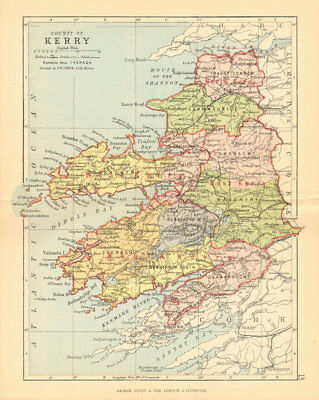 COUNTY KERRY. Antique county map. Munster. Ireland. BARTHOLOMEW 1886 old