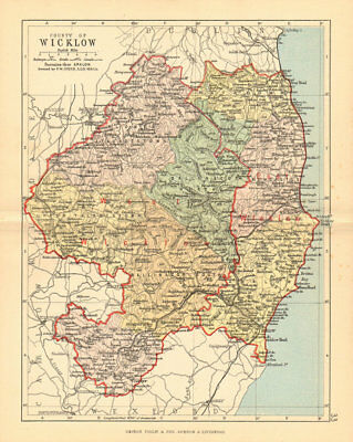 COUNTY WICKLOW. Antique county map. Leinster. Ireland. BARTHOLOMEW 1886