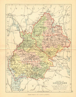 COUNTY LONGFORD. Antique county map. Leinster. Ireland. BARTHOLOMEW 1886