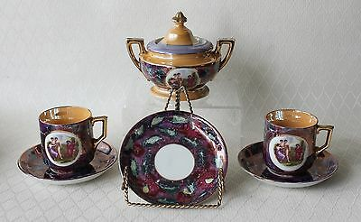 Antique Marked B German Tea Set Cups & Saucers Sugar Bowl Roman Scene