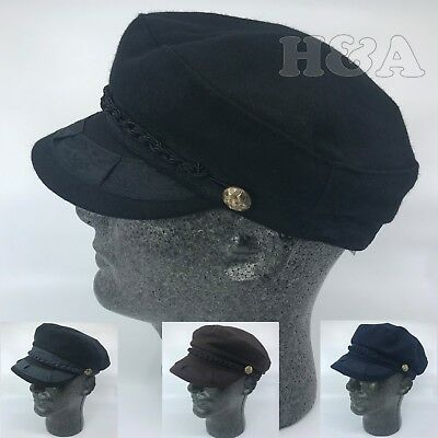 5875b7c134c Premium 100%Wool Men s Greek Fisherman Sailor Fiddler Cabbie Winter Flat Hat  Cap