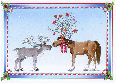 Reindeer and Horse Odd Couple Box of 18 Barbara Gibson Christmas Cards