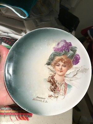 1900s Souvenir Dish Milbank South Dakota SD So Dak China Plate Victorian Lady