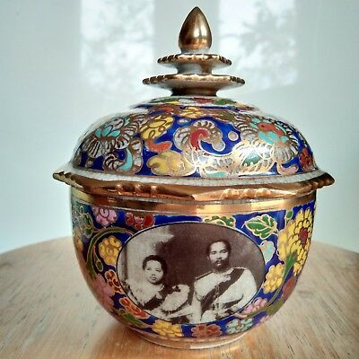 Thai Benjarong Pottery Bowl Jar W/Lid Watermark Collectibles Gift Old Style