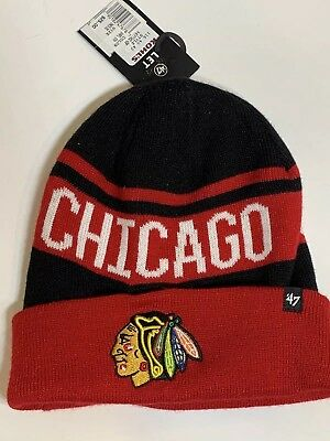 54df27e73f265 Chicago Blackhawks NHL Sports Knit 47 Brand Cuffed Beanie Winter Hat BRAND  NEW!