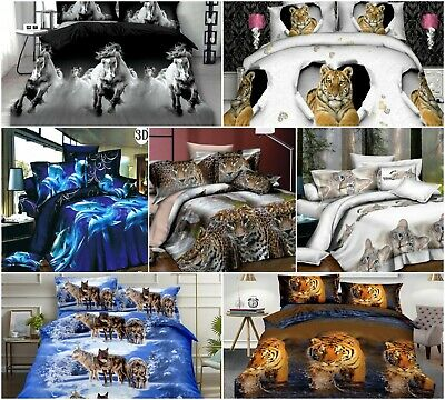 3D Effect Animal Floral Duvet Cover Complete Bedding Set Fitted Sheet Pillowcase