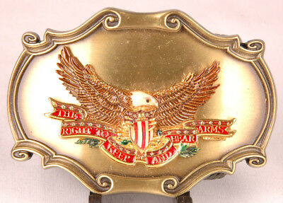 RAINTREE Brass Belt Buckle-The Right To Keep Bear Arms-2nd Amendment-1978-Eagle