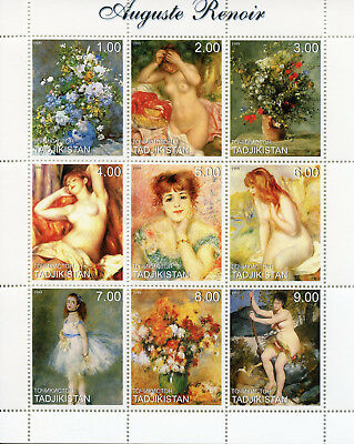 Tajikistan 1999 MNH Auguste Renoir 9v M/S Flowers Nudes Paintings Art Stamps