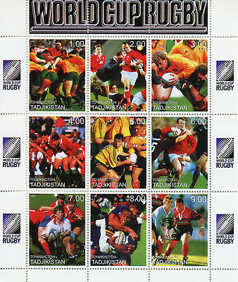 Tajikistan 1999 MNH World Cup Rugby 9v M/S Sports Stamps
