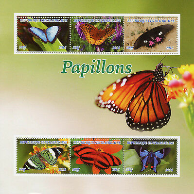 Central African Republic 2016 MNH Butterflies Monarch Butterfly 6v M/S Stamps