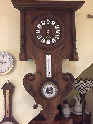 antique pendulum wall clock Barometer Thermometer
