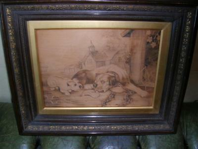 Fine and rare 19th century pokerwork on wood of two dogs.