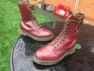Vintage Dr Martens 1490 cherry red smooth leather boots UK 5 EU 38 England