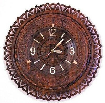 Hand carved Wooden Wall Clock with glass on numbers Home Decor Antique Style