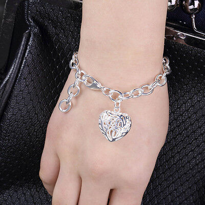 Exquisite Hollow Heart Pendant Charm Heart Bangle Bracelet Chain GN