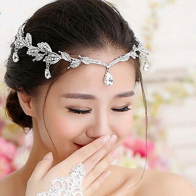 """Elegant Bridal Rhinestone crystal prom hair chain forehead band Headpiece"" GN"