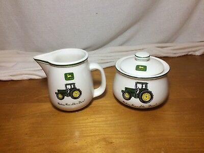 John Deere Creamer Pitcher & Covered Sugar Bowl Set by Gibson