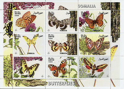 Somalia 1999 MNH Butterflies 9v M/S Butterfly Insects Nature Stamps