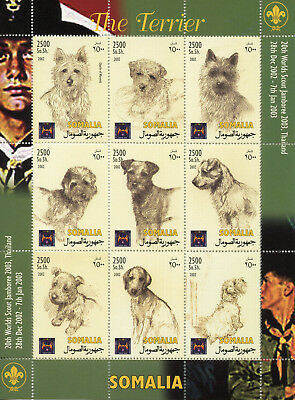 Somalia 2002 MNH Terrier 20th Scouts Jamboree 9v M/S Dogs Scouting Stamps