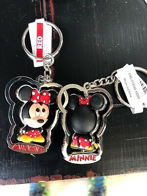 Disney Parks Authentic Vinyl Minnie Mouse 3D Figurine 3D Spinner Metal  Keychain