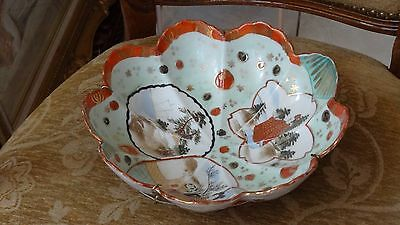 Vintage Japanese Kutani Porcelain  Bowl with wire-hanger