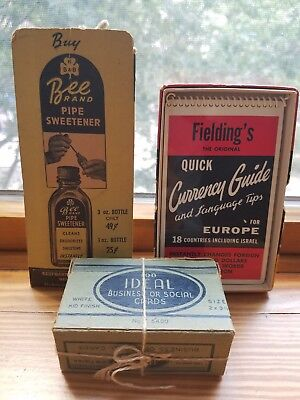 Set of 3 VINTAGE: fielding quick currency guide, bee brand pipe sweetener and...