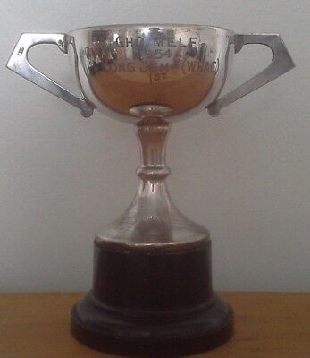 Vintage silver plate 1954 military trophy, trophy, silver, long jump trophy