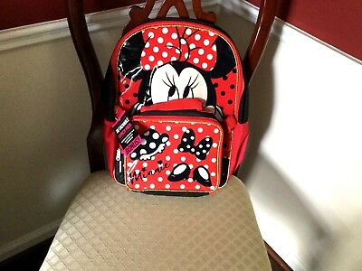 """Disney Minnie Mouse 16"""" Backpack W/Bonus Matching Insulated Lunch Box Set NWT"""