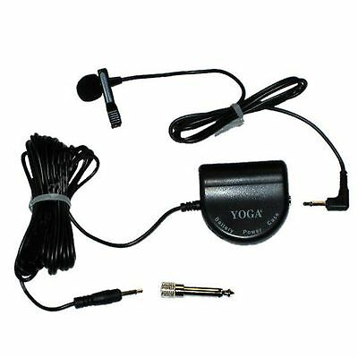 BATTERY POWER CLIP ON LAPEL MINI MICROPHONE on/OFF VOLUME CONTROL 3.5mm & 6.35mm
