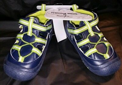 421aec62a9a1b4 TRAINING HEELS By RISING STAR Infant Size 5 Boy s Sandals Shoes Blue Yellow